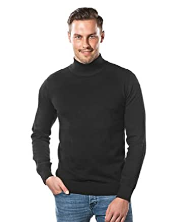 VB Sweater - elegant knit sweater with turtle-neck, slim fit,M,black