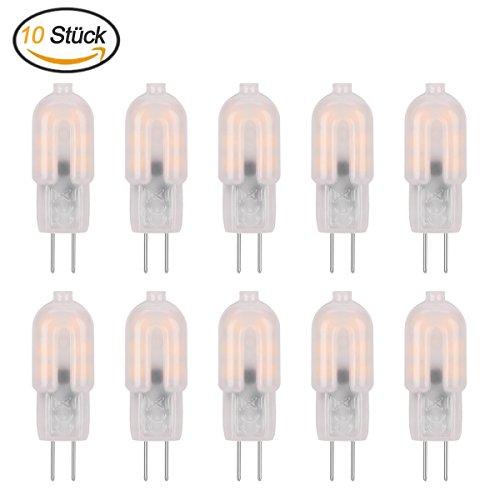 10 Stück G4 LED Lampe Birne Warmweiß - ZCPlus 2W G4 LED Leuchtmittel, 180lm, Ersetzt 20W Halogen Lampen , AC/DC12V, 3000K, 2835 SMD (Milchig weiße Abdeckung) (Rv Led-lampen)