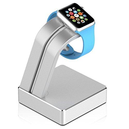 iClever IC-WS02 Apple Watch Ladestation Ladegerät Halter Ständer Halterung für 38 mm / 42 mm Apple Watch, Aluminiumlegierung, Silberfarbe