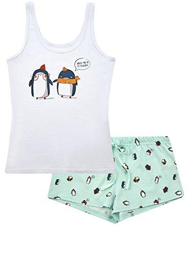 oodji Ultra Donna Pigiama in Cotone con Pinguini Bianco (1065P)