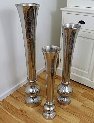 Michael Noll Vase Blumenvase Gefäß Pokalvase Dekovase Aluminium Silber S 69,5 cm M 80 cm L 99 cm (14.5x14.5x69.5)