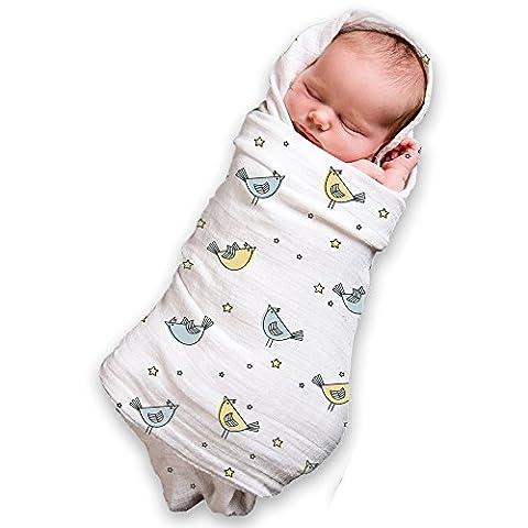 Couvertures à emmailloter en mousseline pour un bébé garçon et fille (lot de 3) 100% coton, Large 119,4x 119,4cm
