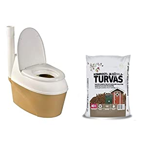 Agande Komposttoilette WC-B 500 Torf Bio Toilette * Gartentoilette * Trockentoilette * Campingtoilette * Bio WC * Gratis für Sie dazu 40 Liter Bio Kompost
