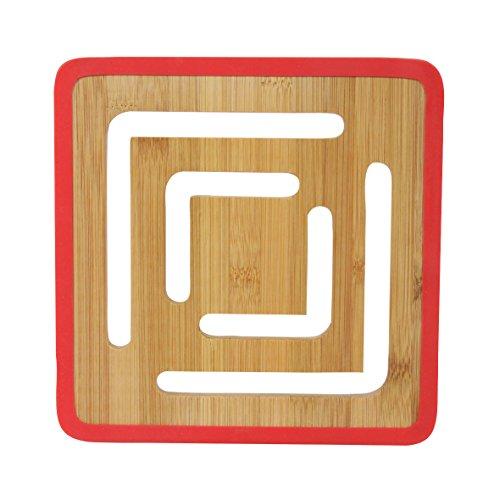 Novastyl 8012211.0 Color Square Dessous de Plat Bambou/Silicone Rouge Diamètre 20 cm