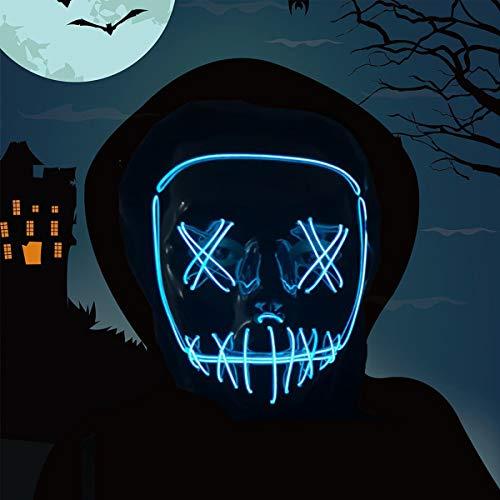 Vohoney LED Maske Halloween Maske Leuchten Maske Light up Mask Scary mask für Party Kostüm Cosplay Dekoration Gruselige Maske(LED Maske for Blau)