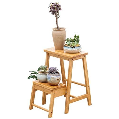 Stuhl Pflanze Stand (CWJ Blumen-Stand-Multifunktions-Regale Portable Fold Hochstuhl Leiter Dual-Use-Stuhl Startseite Massivholz Balkon Dekorative Regal Wohnzimmer Pflanze Innen- und Outdoor-Blumen Topflappen)