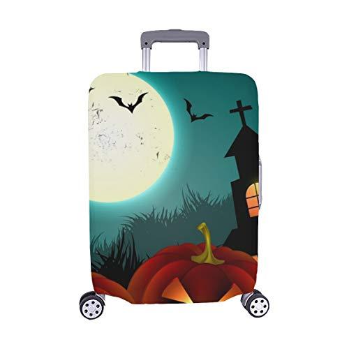 (Nur abdecken) Halloween gruselige Kürbis Design Staubschutz Trolley Protector case Reisegepäck Beschützer Koffer Cover 28,5 X 20,5 Zoll