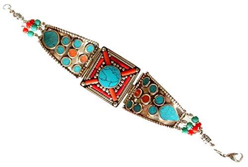 rgoldet Design handgemachte böhmische Link Armband für Frauen & Männer, ethnische Stammes-Zigeuner Vintage Armband In rot Koralle & Türkis Edelstein Gothic Fahion Armband Schmuck ()
