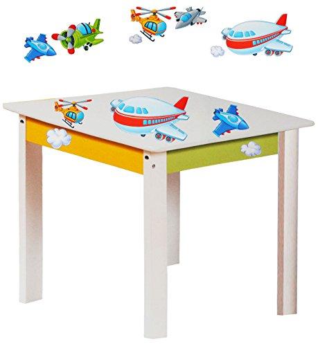 alles-meine.de GmbH 1 Tisch für Kinder - aus sehr stabilen Holz -  Flugzeuge & Helikopter - weiß / grün / gelb  - Kindertisch - Kindermöbel für Jungen & Mädchen - Kinderzimmer ..