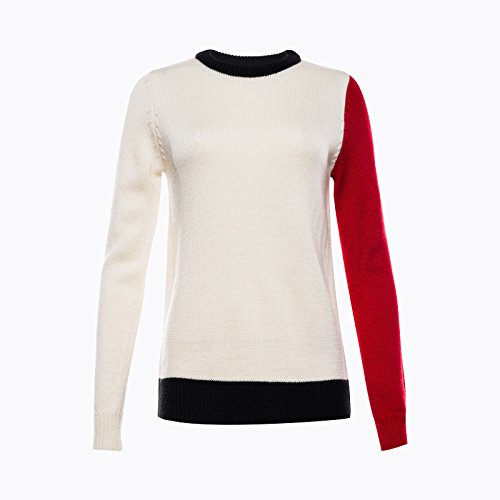 Smile YKK Sweat-shirt Femme Sweat Col Rond Manches Longues T-shirt Automne Hiver Casual Blanc