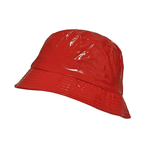 TOUTACOO, Cappello da Pioggia in Vinile Impermeabile - Donna 04-Rosso
