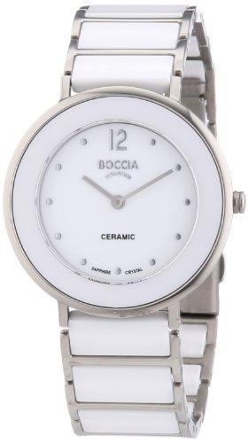Boccia Women's Quartz Watch with White Dial Analogue Display and White Titanium Bracelet B3209-01