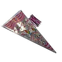 Calscrafts 50 Unicorn Cone Party bags & Metallic Pink Twist Ties length 40cm