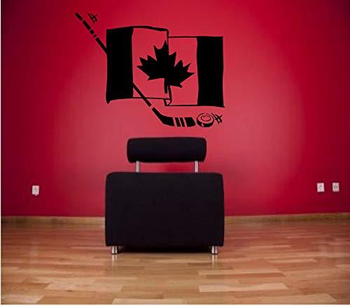 jiuyaomai Kanada Hockey Flagge Wandaufkleber Für Kinder Kinderzimmer Wandtattoo Wohnzimmer Sport Vinyl Home Decals Modernes Design Decor 46x57 cm