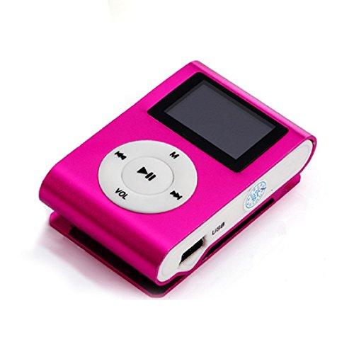 Amison USB Mini Clip MP3-Player LCD-Bildschirm Unterstützung 32GB Mikro-Sd TF Karten (Pink)