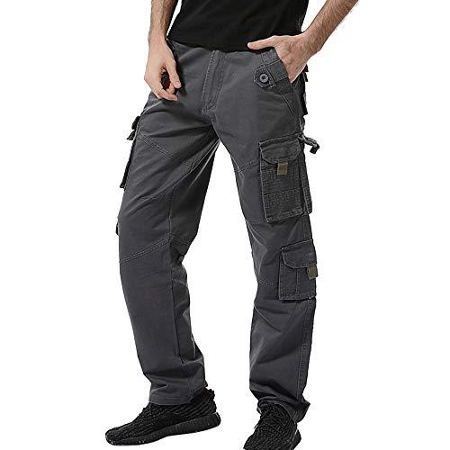 SOMESUN Uomo Moda Casuale All'Aperto Cotone Multi-Pocket Pantaloni da Lavoro Cargo Pantaloni Lunghi Slim Fit Stretti alla Caviglia Elasticizzati Larghi Elegante Sportivo Invernali