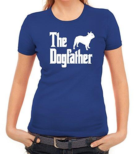 Bulldogge Dog Hund Damen T-Shirt mit The Dogfather von ShirtStreet Royal Blau