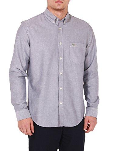 Lacoste Men's Shirt Grey In Size 40-M Blue