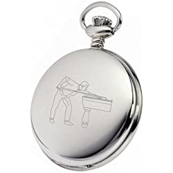 PERSONALISED SILVER SNOOKER POOL POCKET WATCH PW56 CAN BE PERSONALISED ENGRAVED FREE