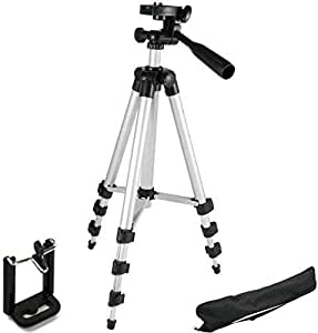 Vell-Tech 3110 Portable and Foldable Tripod for Camera with Mobile Clip Holder Bracket, Stand with 3-Dimensional Head