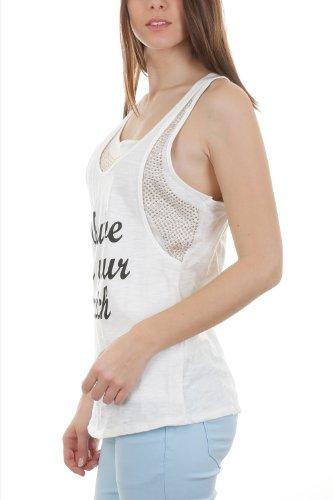 Débardeur Girly effet surperposé ornés de petit clous Blanc