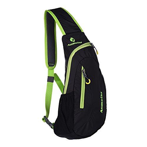 Fastar tracolla in nylon, 8L portatile all' aperto Borsa sportiva petto bag per uomini e donne Nero