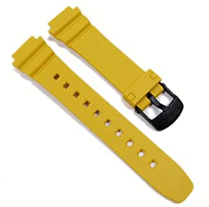 Casio Replacement Band Watch Band Resin Strap yellow LW-202H-9AVH LW-202H