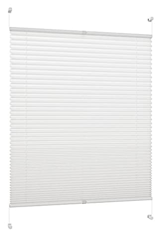 DecoProfi PL01065130 Plissee, verspannt, maximal Gesamthöhe Fensterflügel mit Klemmträger /-fix, ohne Bohren, 65 x 130 cm,