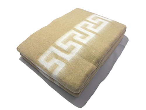 Coperta in mista lana matrimoniale 2 posti/piazze beige letto invernale