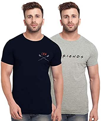 BULLMER Mens Halfsleeve Round Neck Printed Cotton Tshirt - Combo Tshirt - Pack of 2