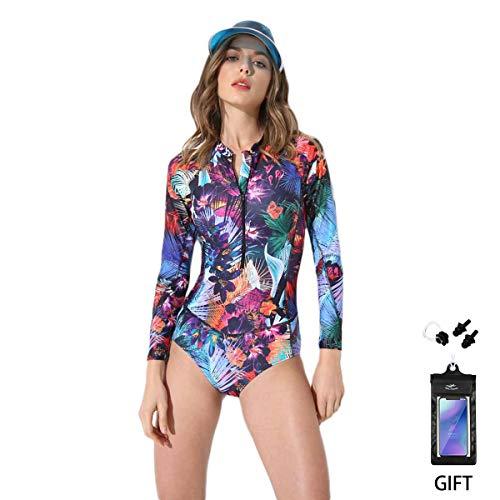 Bikini Badeanzug FOCLASSY Damen Einteiler BIKINI Badeanzug Langarm Mode FLower bedruckt Plus Size Reißverschluss vorne Push Up Bademode mit Chest Pad -10122 (PURPLE, - Einteiler Schwimmen Kostüm