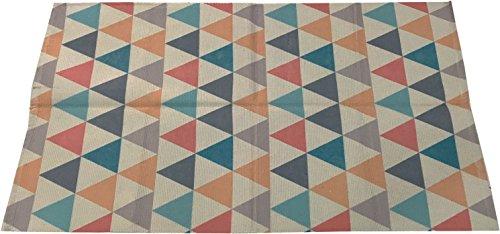 Maiko Alfombra con Estampado Geométrico, Tela, Colores, 50x80x3 cm