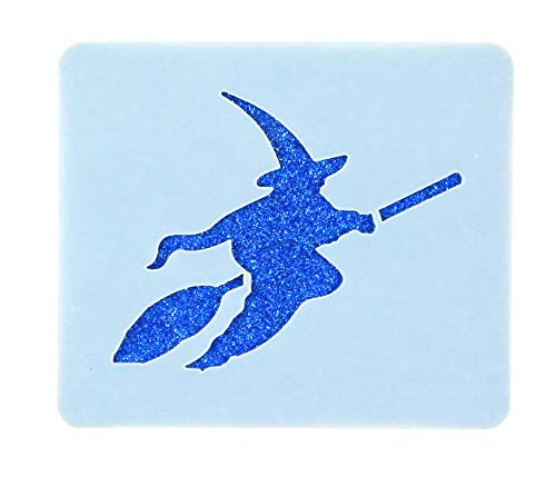 Flying Witch Broomstick Face Painting Stencil 7cm x 6cm Washable Reusable Mylar (Kinderschminken Hexe Halloween)