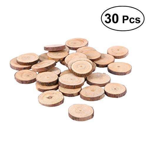 VORCOOL - Discos de madera para manualidades, centros de mesa de boda, 30 unidades, 3 - 4 cm