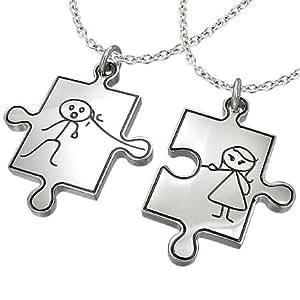pendentif acier elle et lui puzzle amoureux