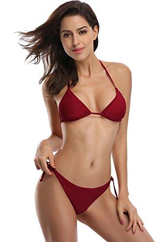 SKEKINI Damen Triangel Bandeau Push up Bikini Gepolstert Badeanzug Rüschen Bademode Tankini (Small, Weinrot) (Designer-triangel-bikini)
