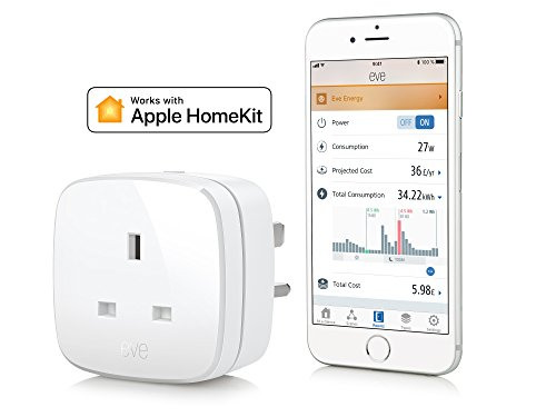 Price comparison product image Eve Energy (UK) - Smart Plug & Power Meter with Apple HomeKit technology, Bluetooth Low Energy