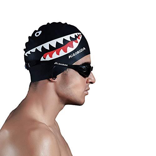 Ytf Silikon-Badekappe für Herren, hohe Elastizität, Badekappe, Haifisch-Badekappe für Männer, großer Kopf, Badekappe für Herren Prime für eine Größe Hut (schwarz)