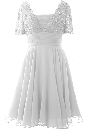 MACloth Elegant Short Sleeve Mother of the Bride Dress Lace Cocktail Formal Gown white