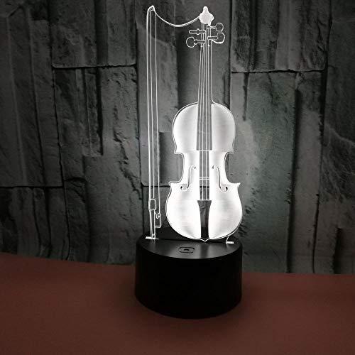 GIRLXV Geschenk Dekoration Kreative Weihnachtsgeschenk Cello 3D Nachtlicht Bunte Touch Fernbedienung Led Visuelles Licht Geschenk Atmosphäre 3D Tischlampe