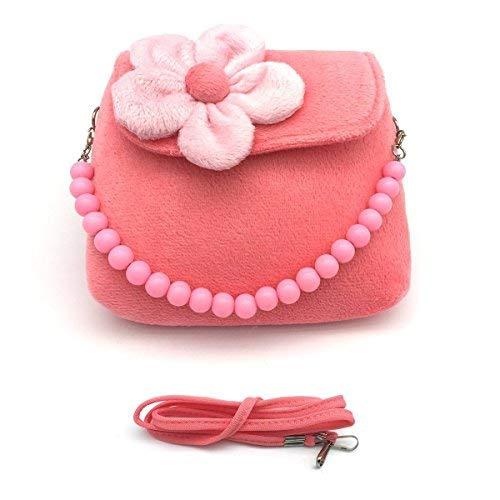 Coofan Kinder Mädchen Mini Handtasche Umhängetashce mit Blumen Süß und Lieblich 14*12*4cm -Pink