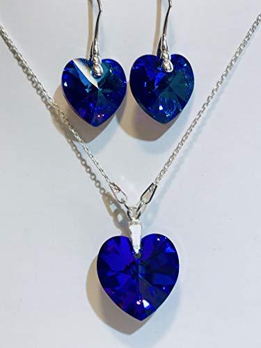 Swarovski Herz Kristall mit 925 Sterling Silber Ohrhänger Ohrringe Halskett verziert Xilion Heart Crystal Heliotrope -