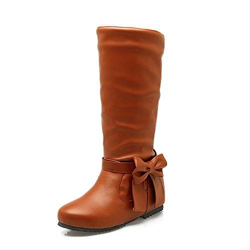 DYF Chaussures Bottes Femmes Grande Taille à Fond Plat de Couleur Solide Noeud Papillon