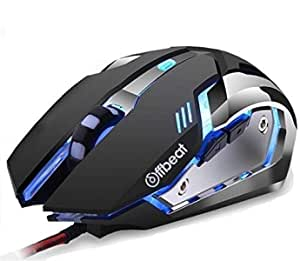 Offbeat RIPJAW Wired Gaming Mouse, Silent Click Buttons Mouse - 7D Buttons, DPI : 1600,2400,3200, Mice for PC Laptop (Wired)
