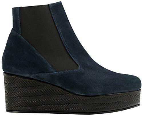 Castañer Fabianne / Suede Vacchetta Trenza Damen Chelsea Boots Navy/Black