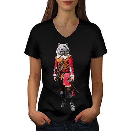 Tiger Ritter Cool Komisch Kostüm Katze Damen M V-Ausschnitt T-shirt | Wellcoda
