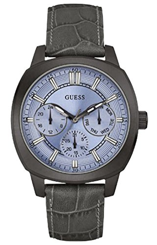 GUESS MEN'S PRIME 43MM GREY LEATHER BAND IP STEEL CASE QUARTZ WATCH W0660G2