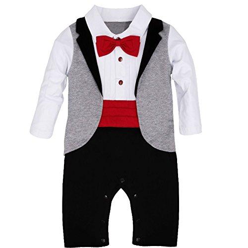 YiZYiF 1tlg Baby Strampler Smoking für Jungen Kleinkind Gentleman Kleidung Langarm Body Taufe Hochzeit mit Bowknot Weiß + Rot Fliege 90 (12-18 Monate)