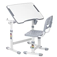 IKAYAA Adjustable Kids Desk Chair Table Set Tiltable Children Activity Table Study Desk Set with Cup Holder