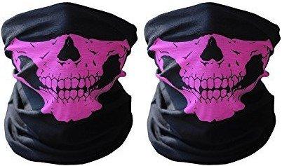 2 x Premium Multifunktionstuch | Sturmmaske | Bandana | Schlauchtuch | Halstuch mit Totenkopf- Skelettmasken für Motorrad Fahrrad Ski Paintball Gamer Karneval Kostüm Skull Maske ...(2 Rosa)